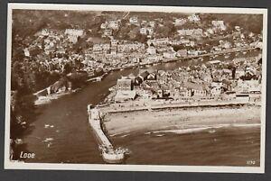 Postcard-Looe-near-Polperro-Cornwall-detailed-aerial-view-RP