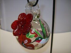 """Parasol """"Droplet"""" (Hummingbird - R) Mini Hand Blown Glass Hummingbird Feeder"""