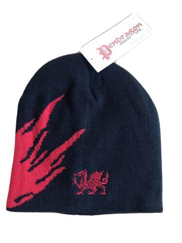 Black Dragon Gallois avec flamme DESIGN Beanie//Ski Chapeau Cymru Pays de Galles