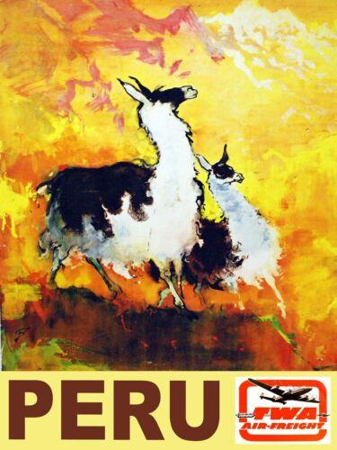 3525.Peru Aviation travel POSTER.Airline aviation Llamas Home store shop art