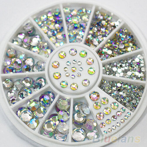 Fashion 5 Sizes Multicolor Acrylic Nail Art Decoration Glitter Rhinestones BEBA