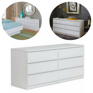 6-Drawer-Dresser-Bedroom-Wood-Furniture-Double-Chest-Clothes-Storage-White