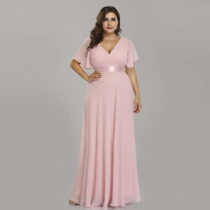 78e1be8471d Ever-Pretty US Long Plus Size Chiffon V-neck Formal Evening Dress ...