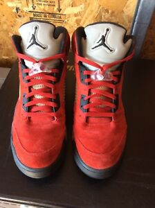 brand new a264a 17ffe Image is loading Retro-Jordan-5-Raging-Bull-Red-suede-Air-