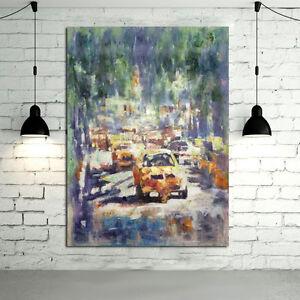 Tableau-Taxi-New-York-Peinture-a-l-039-Huile-Fait-Main-Toile-Entoilee-sur-Cadre