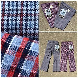d6cd6c3329e3b Details about 2 PR Vtg 70s Sears ROUGH HOUSERS Plaid Bell Jeans Pants 8 NOS  lot Talon 42