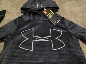 b5ef4052c NEW Boys UNDER ARMOUR COLDGEAR STORM Hoodie Black w/ Big UA Logo ...