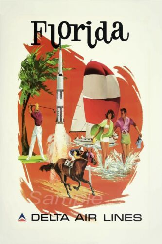 VINTAGE FLORIDA DELTA AIRLINES AMERICAN TRAVEL A3 POSTER PRINT