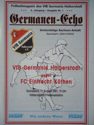 Programm 2001/02 VfB Germania Halberstadt Eintracht Köthen Sammeln & Seltenes