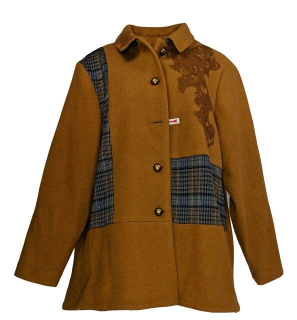 LOGO by Lori Goldstein Women's Plus Sz 1X Coat w/ Plaid Panels Brown A370297