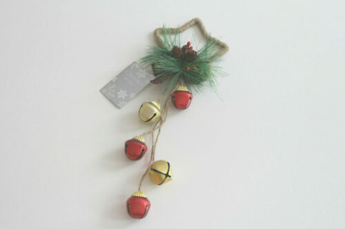 CHRISTMAS STAR WITH SLEIGH BELLS WORKING BELLS LARGE HANGING DECORATION