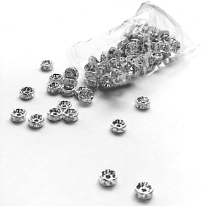 300x Rhinestone Rondelle Spacer Beads Bracelet Necklace DIY Jewelry Findings 6mm