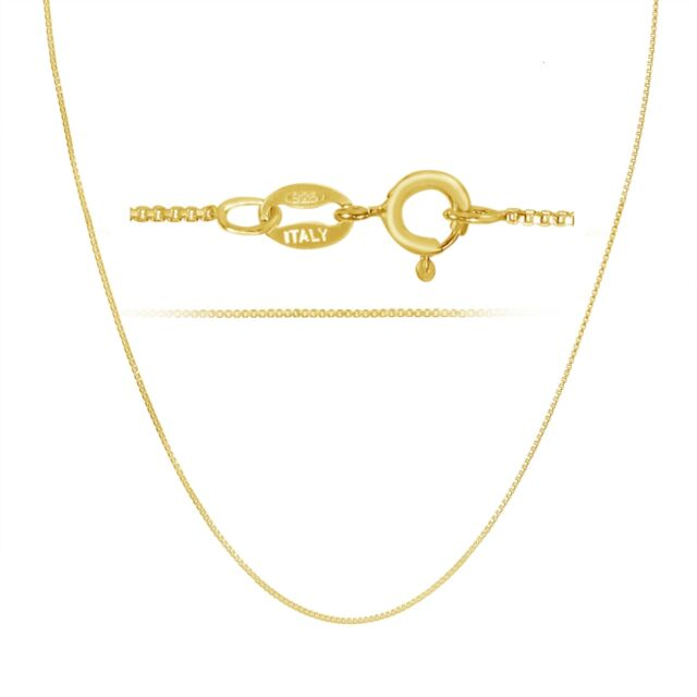 14k Gold Plated .925 Sterling Silver 1mm Box Chain Necklace 12 - 40 inches!