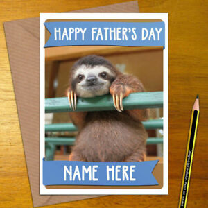 SLOTH-Personalised-Mother-039-s-Father-039-s-Day-Card-mum-dad-mothers-fathers-happy