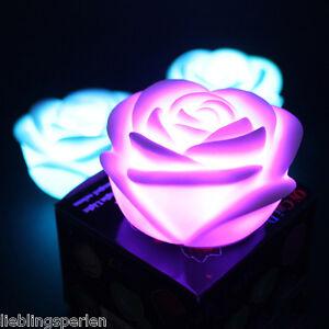 lp 1 led lichter nachtlicht nachtlampe zimmer deko 7 farben roseform geschenk ebay. Black Bedroom Furniture Sets. Home Design Ideas