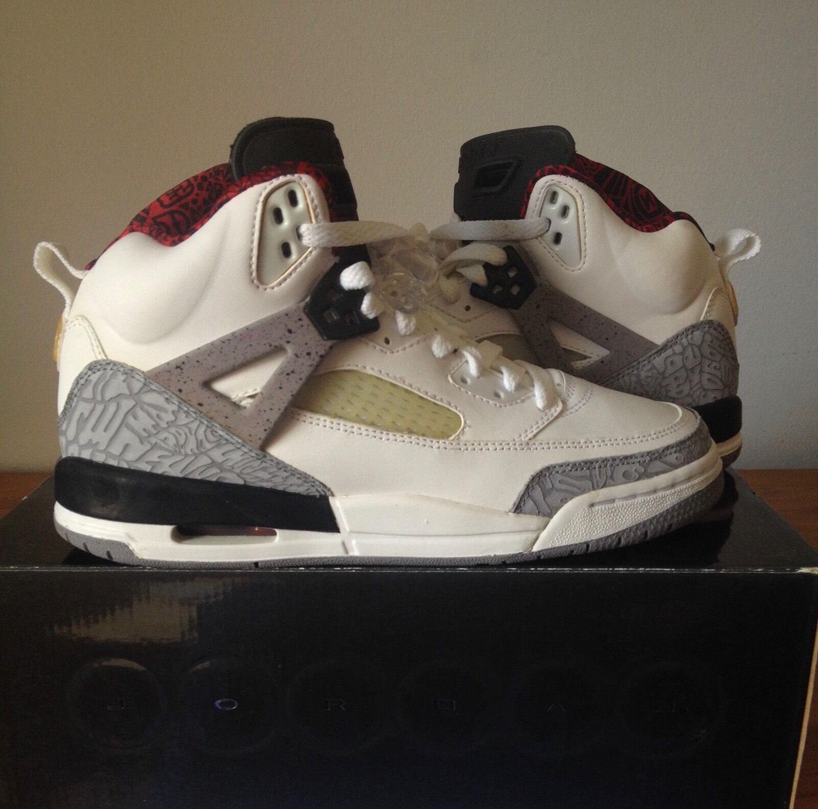RARE Nike Air Jordan Spizike White Cement Gray Red Black Sz 7Y 317321-101