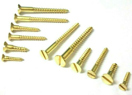 Solid Brass wood screws Countersunk BS1210 Slotted No10 *Top Quality!