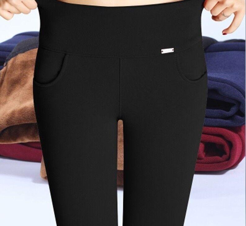 Women Trousers Winter Elastic Waist Casual Stretch Skinny Pencil Pants Leggings