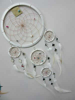 Beautiful Nylon White Mirror & Stones 22cm Web Dream Catcher 72cm Total Length