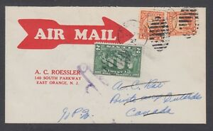 Canada-Sc-141-142-on-1927-First-Flight-Cover-LA-MALBAIE-to-OUTARDES-Roessler