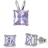Item Light Lavender .925 Sterling Silver Earrings & Pendant Set .5 on sale