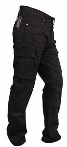 MENS-MOTORCYCLE-BLACK-CARGO-JEANS-REINFORCED-WITH-DuPont-KEVLAR-size-30-54