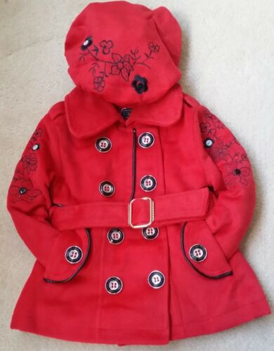 Baby Girls Kids Padded Red Belted Fur Lined Jacket Hat Coat Thick Winter Warm