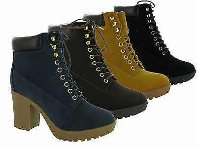 WOMENS ANKLE LACE UP BOOTS COMBAT WALKING GRIP SOLE WOMEN CASUAL SHOES BOOT SIZE