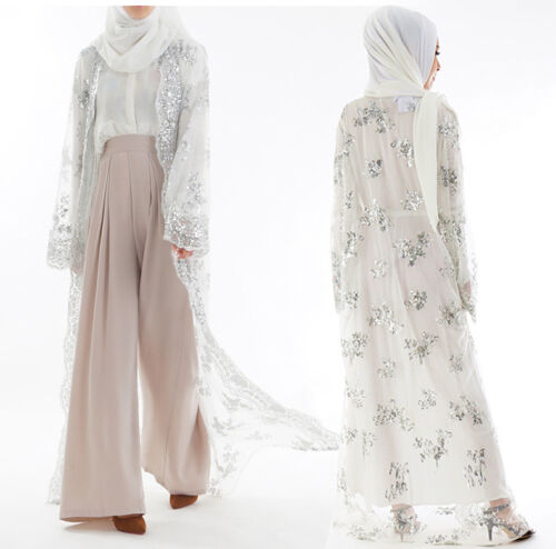 Dubai Lace Sequin Kimono Abaya Open Cardigan Long Maxi Dress Muslim Kaftan Robe