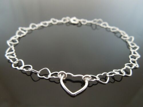 Fine 4mm X 5mm plata esterlina 925 Corazón Link pulsera de cadena ~ Elegir Longitud