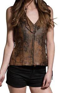 Women's Vintage Brown Dual Pocket Side Lace Real  Leather Zip Vest