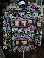 Fu Da Woman 100% Silk Blouse Long Sleeve Floral W/purses Art To Wear Plus 2x
