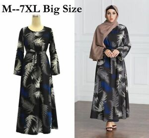 Plus-Size-Women-Muslim-Kaftan-Printed-Abaya-Jilbab-Long-Maxi-Dress-Robe-Islamic