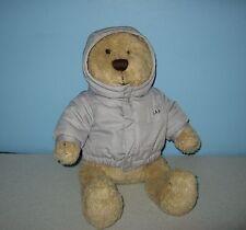 """Baby GAP Pudgie Tummy Teddy Bear 14"""" Bean Plush in Grey Puffy Hoody Jacket"""