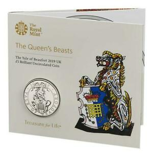 2019-Queens-Beasts-The-Yale-Of-Beaufort-BU-5-Five-Pound-Royal-Mint-Coin-Pack