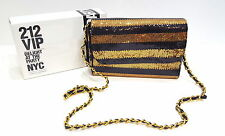 CAROLINA HERRERA VIP Diseñador Dorado Negro Lentejuelas Bolso de Mano Clutch Bag. Glamourous
