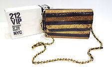 CAROLINA HERRERA VIP DESIGNER GOLD BLACK SEQUIN HANDBAG CLUTCH BAG.  GLAMOUROUS