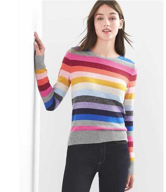 S M XS NWT: GAP Holiday Crazy Stripe Wool Sweater mi