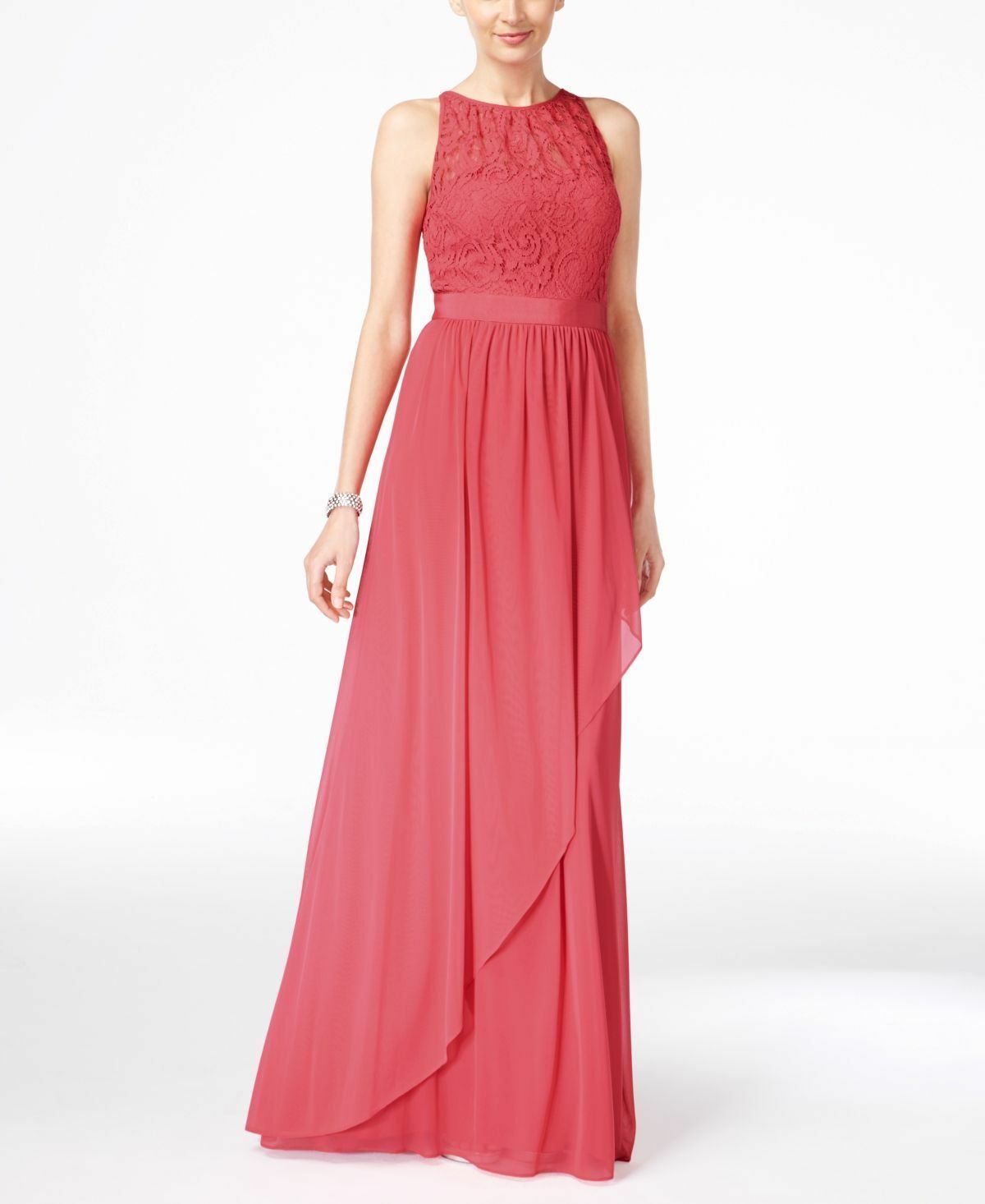 330 ADRIANNA PAPELL Womens PINK LACE ILLUSION HALTER LAYERED A-LINE GOWN 14