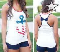 Women's Anchor Stars Strips Tank Top Shirt S M L Us Seller Ships Free