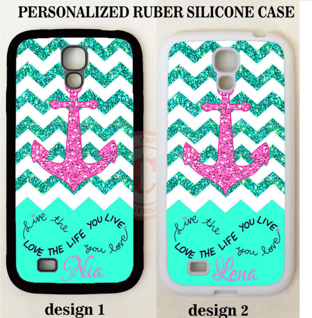 Personalize Live Love Mint Chevron Pink Anchor Case For Samsung Galaxy S9 S8 S7