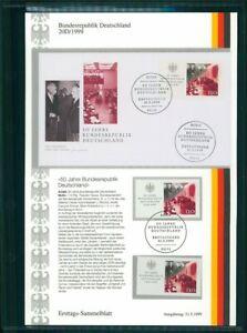BRD-ETSB-1999-20D-ERSTTAGS-SAMMELBLATT-50-JAHRE-BRD-HEUSS-BUNDESPRASIDENT
