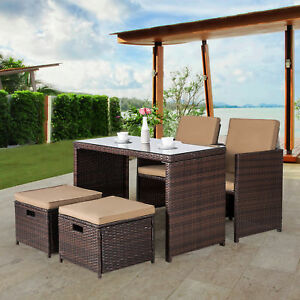 Details About 5 Piece Patio Dining Set Wicker Furniture Bar Cushioned Outdoor Conversation