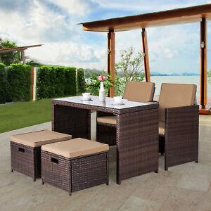 Image Is Loading 5 Piece Wicker Furniture Bar Set Dining Set