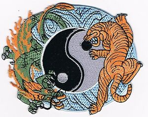 Chinese Dragon Tiger Yin Yang Tattoo Thai Embroidered Iron On Patch