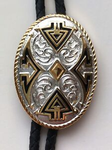 Gold Tone Plated Special Oval Western Bolo Tie