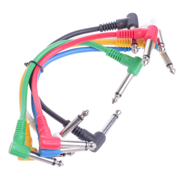 6Pcs/Set Colorful Angled Plug Audio Leads Patch Cables For Guitar Pedal Effect