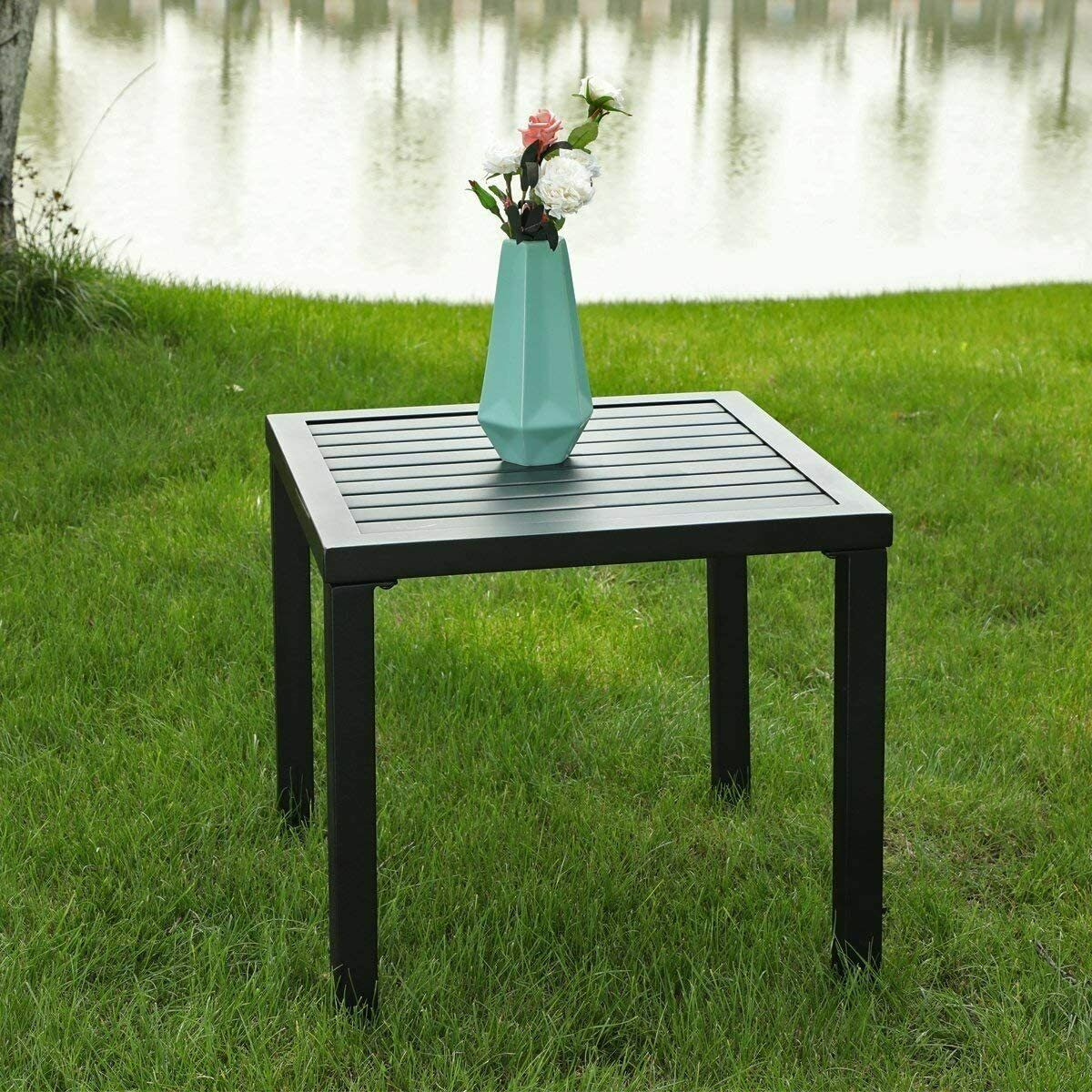 Black Patio Table Metal Square Coffee Tea Bistro Table Outdoor Furniture Table