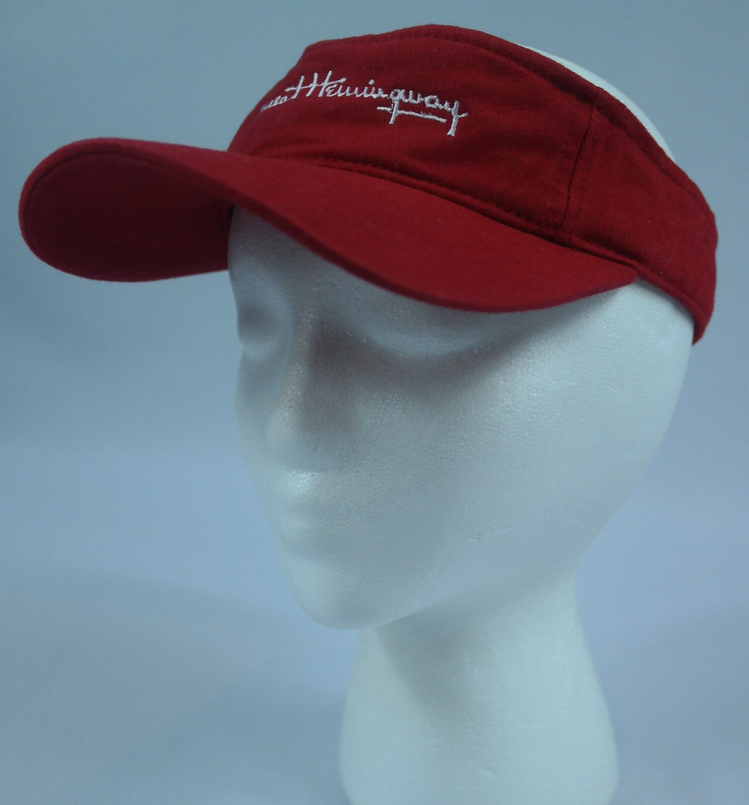 Ernest Hemmingway Adjustable Embroidered Signature/Script Logo Red Adjustable Hemmingway Visor Hat EUC 06062c