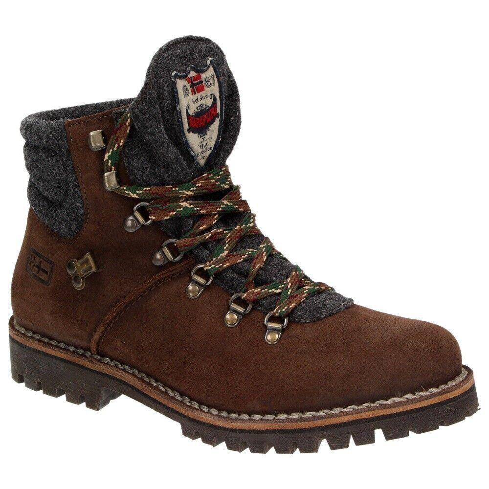 Cómodo y bien parecido Napapijri jan mid Lace caballero zapatos cuero con cordones-Boots botín fieltro marrón
